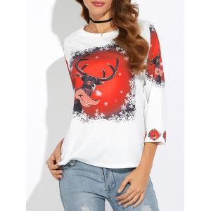 Cartoon Elk Print Christmas Tee