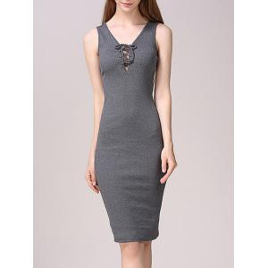 Lace-Up Bodycon Tank Dress - Gray - M