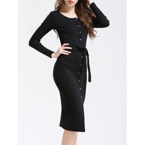 Slim Fit Belted Button Down Dress -
