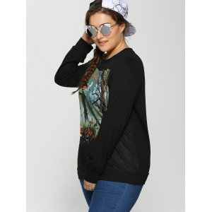 Halloween Ghost Pumpkin Print Plus Size Sweatshirt -