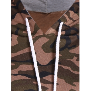 Pullover Camo Print Drawstring Hoodie - ARMY GREEN CAMOUFLAGE 2XL