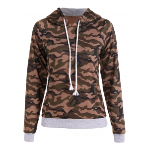 Pullover Camo Print Drawstring Hoodie - Army Green Camouflage - L