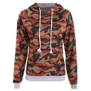 Camo Print Drawstring Pullover Hoodie