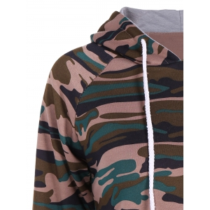 Pullover Camouflage Print Panel Hoodie -