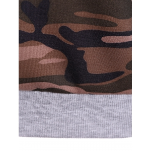 Pullover Camo Print Panel Hoodie -
