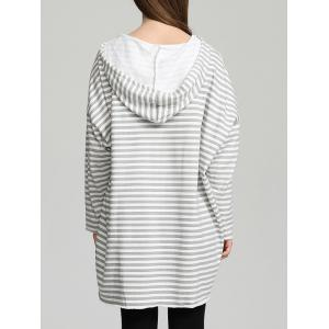 Drawstring Striped High Low Hem Hoodie -