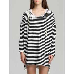 Drawstring Striped High Low Hem Hoodie - Black - One Size