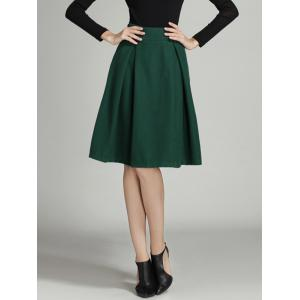 Pleated High Waist A-Line Skater Skirt