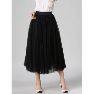 Tulle High Waist Midi Skirt