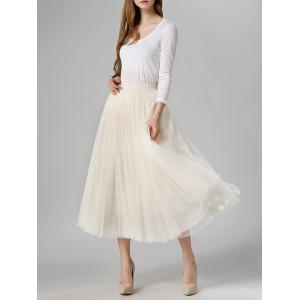 Tulle High Waist Midi Skirt - OFF-WHITE ONE SIZE