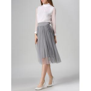 Tied-Up Shirred Blush Tulle A-Line Skirt -