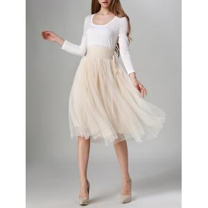 Tied-Up Shirred Blush Tulle A-Line Skirt - APRICOT ONE SIZE