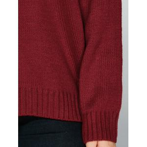 V Neck Drop Shoulder Loose Sweater - DEEP RED ONE SIZE