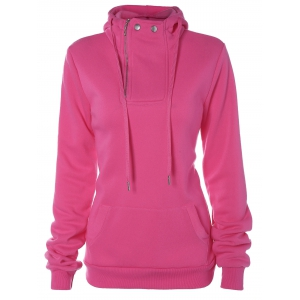 Drawstring Zip Pocket Design Hoodie - Rose Red - M