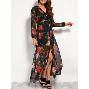 Chiffon Floral Maxi Split Sheer Kimono Wrap Dress - Black - S