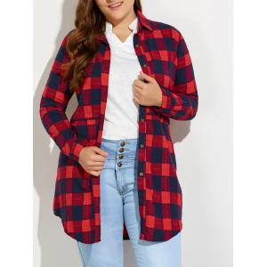 Plus Size Plaid Button Up Long Flannel Shirt - Red - L