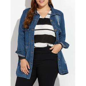 Plus Size Distressed Button Up Denim Coat - Deep Blue - Xl
