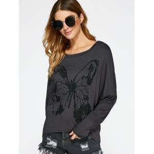 Butterfly Print Batwing Sleeve T-Shirt - DEEP GRAY XL