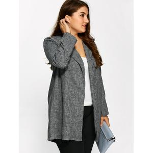 Plus Size Open Front Ruffle Coat - GRAY 5XL
