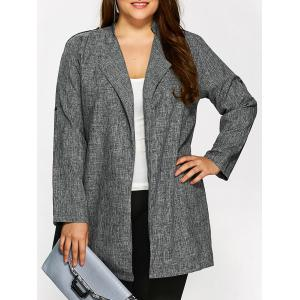 Plus Size Open Front Ruffle Coat - Gray - Xl