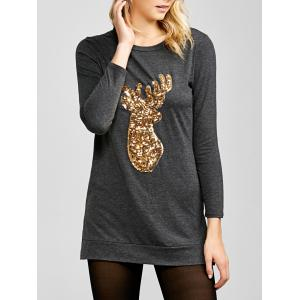 Side Slit Long Sleeve Sequin Deer Christmas T-Shirt