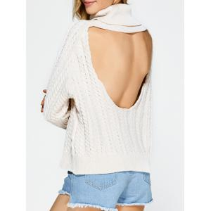 Turtleneck Open Back Sweater - Off-white - One Size