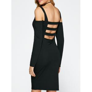 Cold Shoulder Backless Bandage Cocktail Dress - Black - L