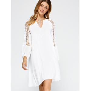 Casual Openwork Lace Insert Dress with Sleeves - WHITE XL