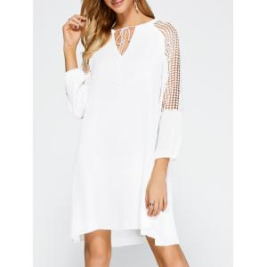 Casual Openwork Lace Insert Dress with Sleeves