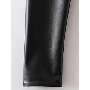Applique Faux Leather Pants - BLACK XL