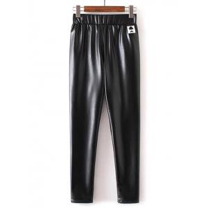 Applique Faux Leather Pants
