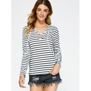 Lace Up Long Sleeve Striped T-Shirt -