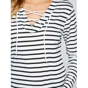 Lace Up Long Sleeve Striped T-Shirt - WHITE XL