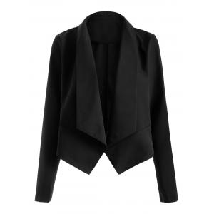 Open Front Shawl Collar Blazer - Black - M
