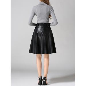 PU Leather Belted A-Line Skirt - BLACK XL