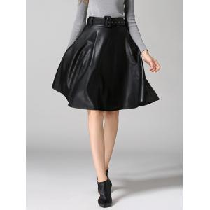 PU Leather Belted A-Line Skirt - Black - Xl