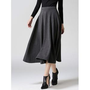 Woolen A-Line Midi Skirt - Gray - Xl