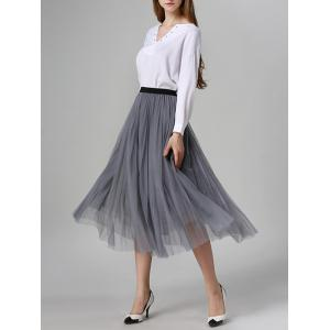 Tulle Pleated Midi A-Line Skirt - GRAY ONE SIZE