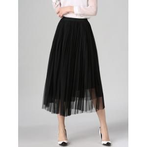 Tulle Pleated Midi A-Line Skirt