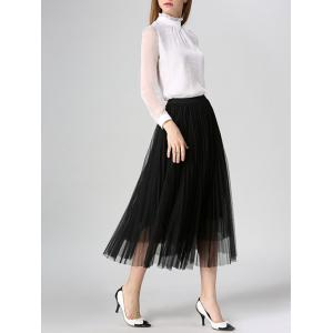 Tulle Pleated Midi A-Line Skirt -