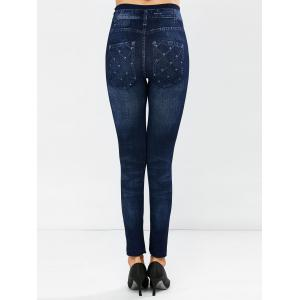 Grid Dark Wash Jeggings -
