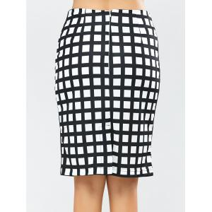 Grid Knee Length Plaid Pencil Skirt -