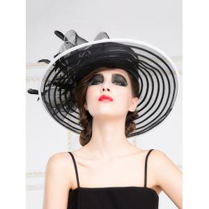 Cocktail Big Brim Stripe Kentucky Derby Organza Hat -