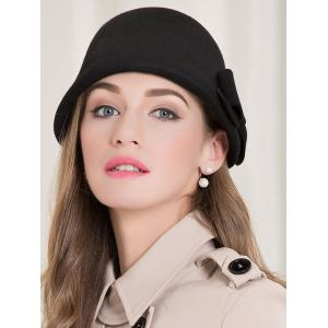 Bowknot Wool Dome Cloche 1920s Hat - BLACK