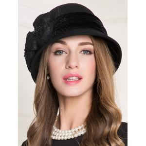 Lace Floral Wool Dome 1920s Fedora Hat - BLACK