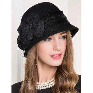 Lace Floral Wool Dome 1920s Fedora Hat