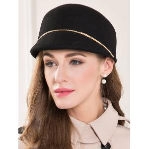 Wool Felt Chain Embellished Beret Hat -