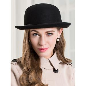 Wide Brim Wool Dome Fedora Hat -
