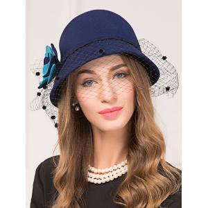 Floral Gauze Wool Dome 1920s Fedora Hat -