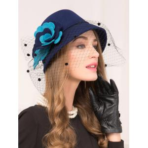 Floral Gauze Wool Dome 1920s Fedora Hat - ROYAL